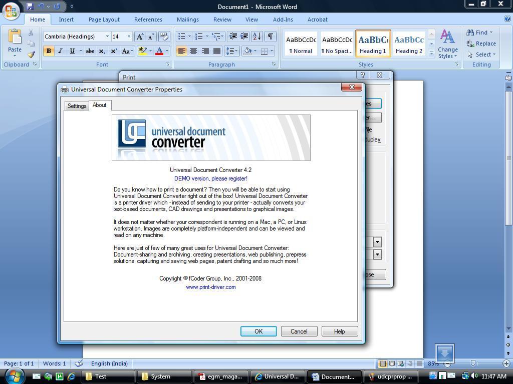 инструкцию universal dokument converter 4.2