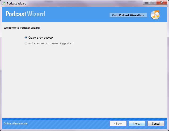 Add new Podcast wizard