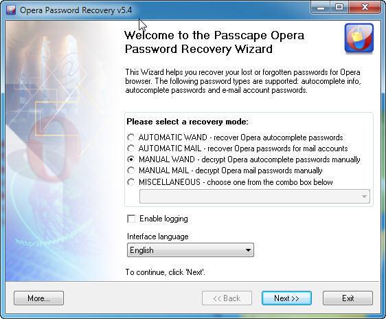 Opera Password Recovery - утилита для восстановления паролей