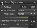 Basic Adjustments menu