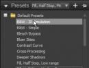 Default Presets menu