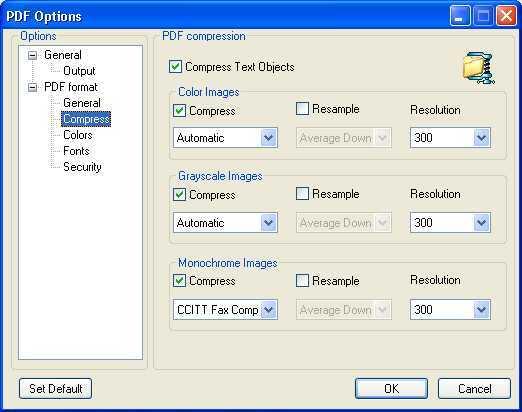 PDF Compression Settings